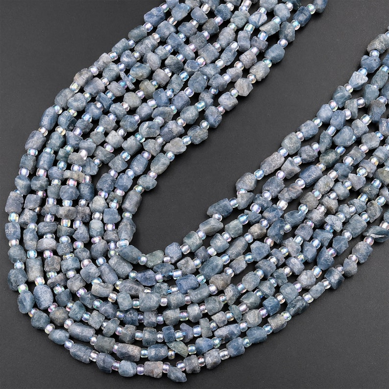 Small Natural Blue Sapphire Rough Raw Nugget Beads Freeform Hand Hammered Real Genuine Blue Sapphire Gemstone 15.5 Strand