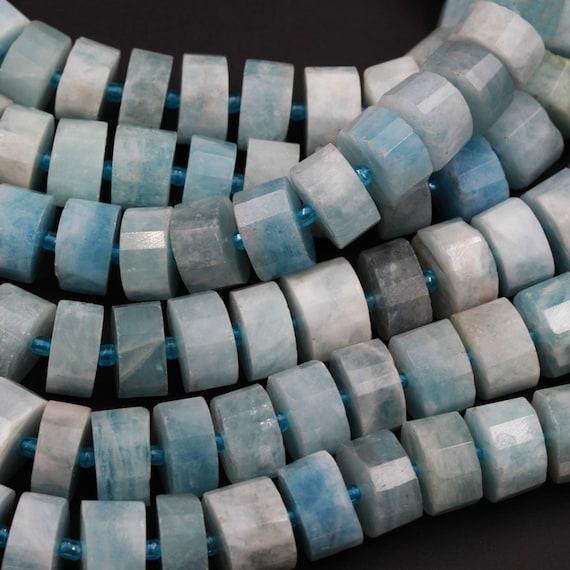 Matte Finish Natural Blue Aquamarine Beads Large Wheel Rondelle Genuine Real Aquamarine Gemstone High Quality Designer Beads Full 16 Strand