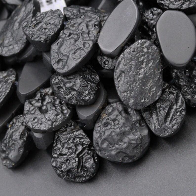 Natural Black Meteorite Beads Teardrop Nugget Tektite From Thailand Drilled Real Genuine Meteorite Cosmic Gems Two Sided Gemstone 16 Strand