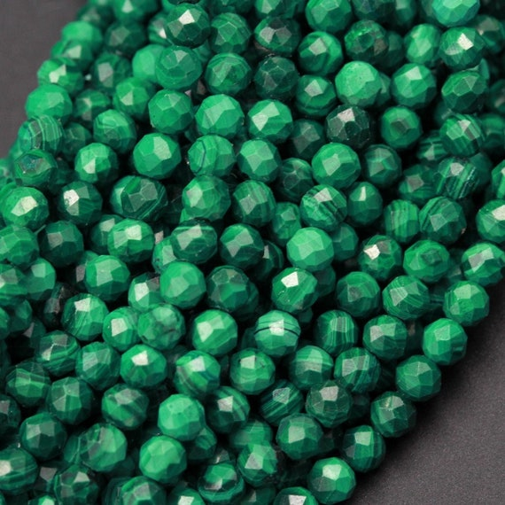 5MM GREEN GARNET GEMSTONE GRADE A MICRO FACETED ROUND LOOSE BEADS 15.5/""