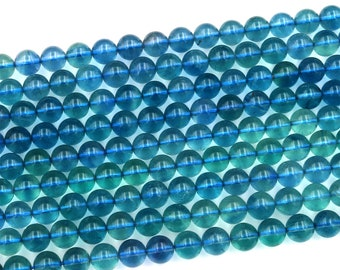 """AAA Natural Blue Fluorite Beads 4mm 6mm 8mm 10mm Round Smooth Polished Finish Gemstone Beads 15.5"""" Strand"""