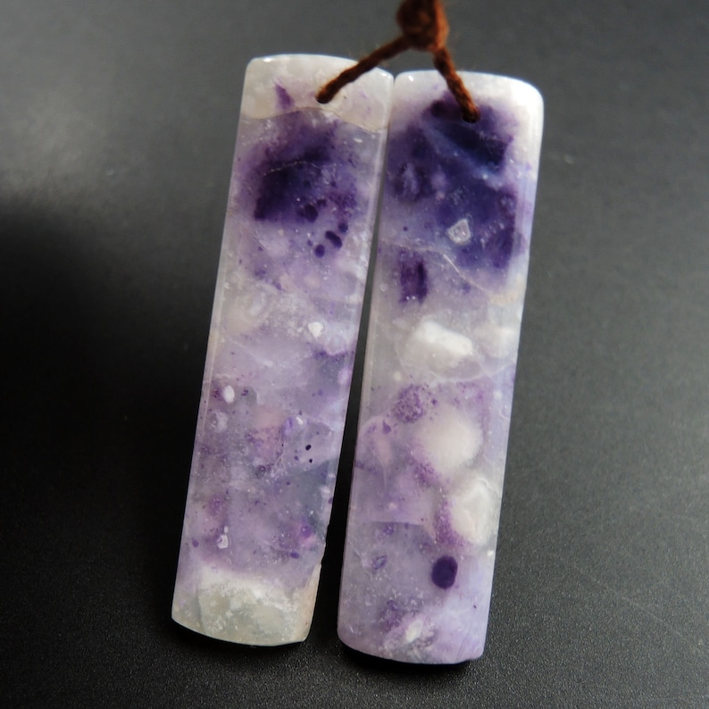Natural Mexican Purple Opal Earring Pair Drilled Rectangle Cabochon Cab Drilled Matched Earrings Bead Pair Natural Stone E3217
