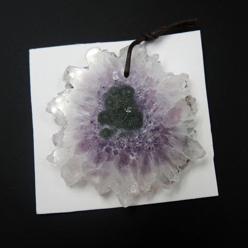 Natural Amethyst Stalactite Flower Pendant Cabochon Cab Drilled Pendant P178