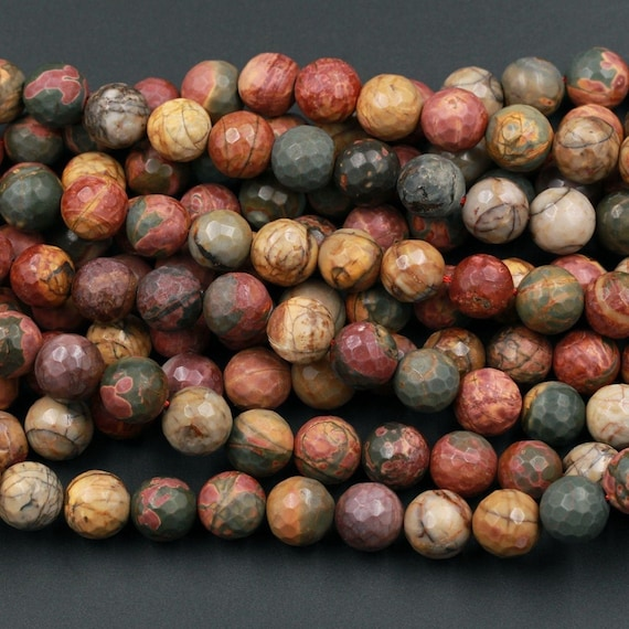 Red Creek Jasper 8mm Faceted Round Approx 16 inch Strand.