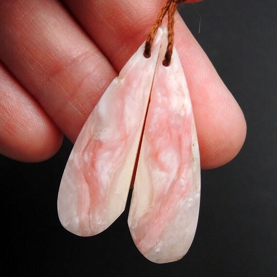 Paire d'Opale rose boucle d'oreille en forme de larme larme de Cabochon cabine percé boucles d'oreilles assorties perle naturelle paire E3201 96b4cb