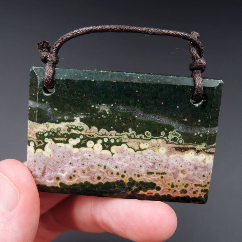 Natural Ocean Jasper Pendant Pink Green White Orbs Drilled Faceted Rectangle Pendant 2 Hole Pendant P398