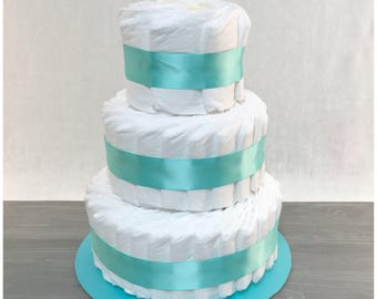 Un-Decorted Diaper Cake with Teal Ribbon Wrap