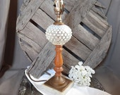 1940s Moonstone Opalescent Hobnail Brass Wood Marble Table Lamp -Works Beautifully Cottage Farmhouse Mid Century