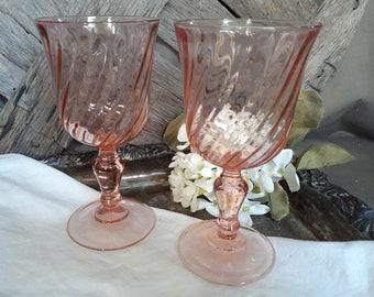 VINTAGE ARCOROC FRANCE PINK SWIRL ROSALINE ELEGANT WINE GLASSES Lot of 7 |  #1895702443