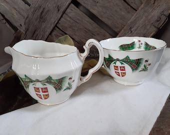 gold edge holly Christmas tartan 1990s handled sugar bowl Porcelain Christmas tableware. Sonata Noel covered Vintage Christmas bell