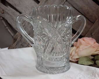 Etched Crystal Spooner Vase with flowers 7 signed