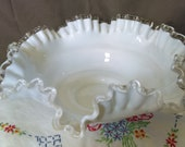 Vintage Fenton Silvercrest 10.5 quot Crimped Round Ruffle Edge Bowl Vintage Cottage Chic Country Wedding Bridal Gift Candle Holder Gift Giftware