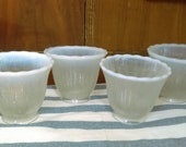 Vintage Fenton Set of 4 Opalescent Scalloped 2 1 4 quot Fitter Light Shades Covers