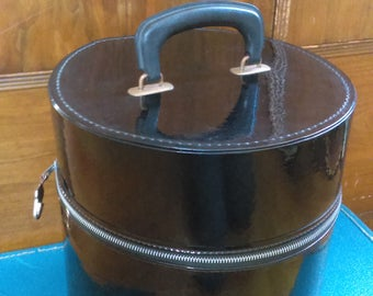 Mod Black Patent Storage Tote Travel Case for Wig Veil Hat Sewing Supplies w/Vintage Pamplet Advertising Hair Retro Black Vinyl Hat Box