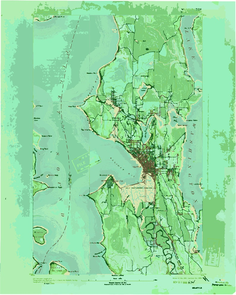 photograph about Printable Map of Seattle called Seattle Printable Map, Printable Town Map, Seattle Map, Seattle Skyline, Printable Map, Seattle Wall Artwork, Map Wall Artwork, Seattle Artwork, Emerald
