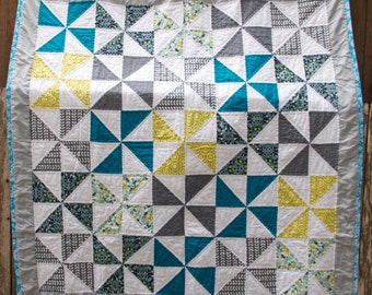29 x 34 Reversing Flying Geese Mustard and Purple Modern Baby Quilt Teal