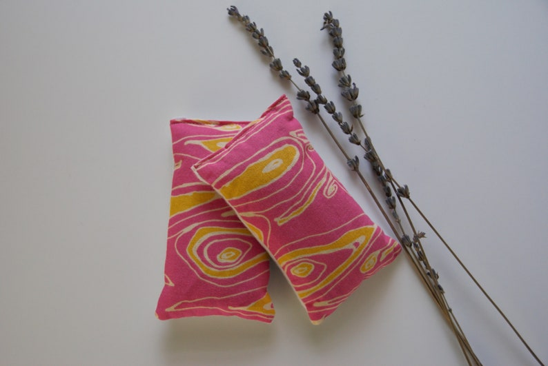 Set of 2 Pink and Yellow Marbled Pattern Handmade Cotton Lavender Sachets