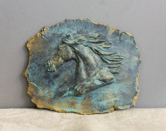 Horse Bas-Relief Equine Art Resin Tile Medallion