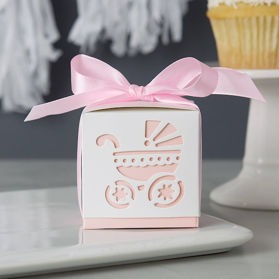 Baby Shower Pink Carriage Favor Boxes 24ct