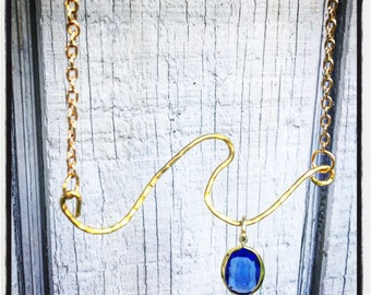 Hammered jeweled  wave necklace