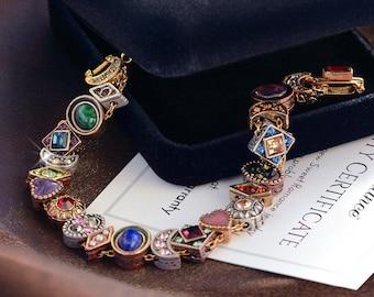 Vintage Slide Bracelet, Victorian Bracelet, Antique Bracelet, Vintage Charm Bracelet, Renaissance Jewelry, long length bracelet BR107