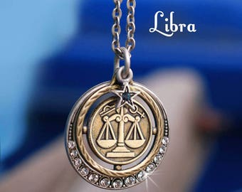 Libra Necklace Jewelry Zodiac Pendant Birthday Gift September Horoscope Constellation Astrology N1244 LB