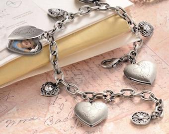 1e7e9df4d91 Heart Charm Bracelet, Heart Locket Bracelet, Gift for Her, Heart Jewelry,  Locket Jewelry, Gift for Mom, Silver bracelet, Silver heart BR0214