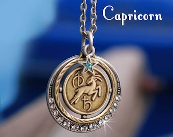 Capricorn Necklace, Zodiac Jewelry, Capricorn Jewelry, Zodiac Pendant, Astrology, January Birthday Necklace, December Birthday Gift N1244-CP