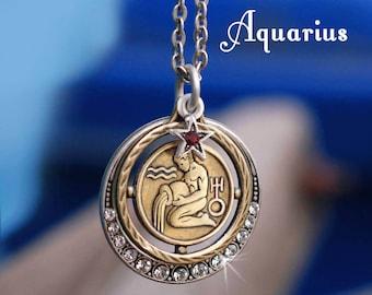 Aquarius Necklace, Zodiac Jewelry, Aquarius Jewelry, Zodiac Pendant, Astrology Sign, Birthday Necklace, Birthday Gift, Horoscope N1244-AQ