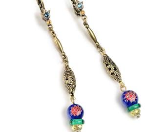 Millefiori Glass Filigree Earrings, Millefiori Jewelry, Filigree Earrings, Vintage Earrings, Boho Jewelry, Murano Glass, Retro Earring E1381