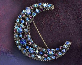 Blue Moon Brooch, Crystal Moon Pin, Moon Jewelry, Astronomy, Retro Jewelry, Vintage Brooch, Celestial, Large Brooch, Lunar Jewelry P308