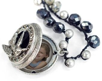 Bird Lover N1357 Locket Necklace Bird Jewelry Bird Locket Locket Pendant Boho Necklace Crochet Necklace Hand Knotted Necklace
