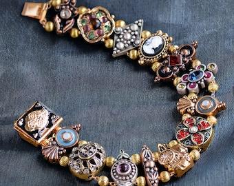 Gold Victorian Slide Bracelet, Vintage Charm Bracelet, Vintage Bracelet long length, Renaissance Jewelry BR105
