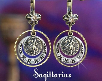 548835564 SAGITTARIUS earrings, Sagittarius jewelry, Zodiac Jewelry,Zodiac  Earrings,Boho Earrings,Horoscope Sign,Gift for her, Astrology gift E1241-SA