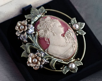 Cameo Brooch, Cameo Pin, Cameo Jewelry, Victorian Jewelry, Gift for Her, P429