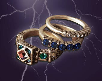 Elvira's Gothic Ring Trio - Set of 3, Stacking Rings Rings, Gothic Rings, Elvira Rings, Crystal Rings, Stackable Rings, Halloween EL_R102
