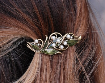 Lily of the Valley Barrette, Wedding Barrette, Hair Accessory, Hair Barrette, Hair Clip, Hair Accessories, Wedding Jewelry, Hair Pin B533