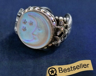 Aurora Moon Ring, Moon Mood Ring, Moon and Stars Jewelry, Iridescent Stone Ring, Crescent Moon Ring, Aurora Borealis Antique Ring, R423