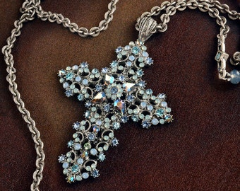 Crystal and Lace Cross Necklace, Cross Jewelry, Religious Necklace, Faith Necklace, Religious Jewelry, Cross Pendant, Spiritual N1465
