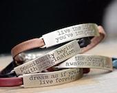 Inspirational Bracelet, Leather Bracelet, Inspirational Jewelry, Motivational Jewelry, Best Friend Gift, Stackable Bracelets, Boho Bracelet