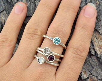 Birthstone Ring, Delicate Ring, Stackable Birthstone Ring, Solitaire Ring, Crystal Ring, Minimalist Ring, Personlized Birthday Ring R601