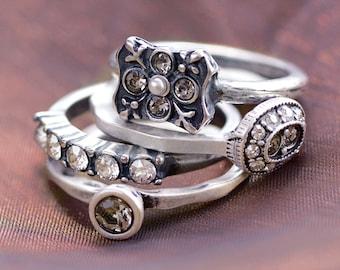 Set of 4 Stack Rings, Stacking Rings, Boho Rings, Gypsy Rings, Gold Stacking Rings, Stackable Rings, Ring Set, Silver Stack Rings R1121