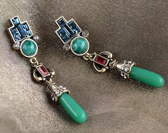 Art Deco Jade Earrings, Vintage jewelry, Jade Jewelry, Green Earrings,  Art Deco Jewelry, Flapper Earrings, Deco Earrings E9522