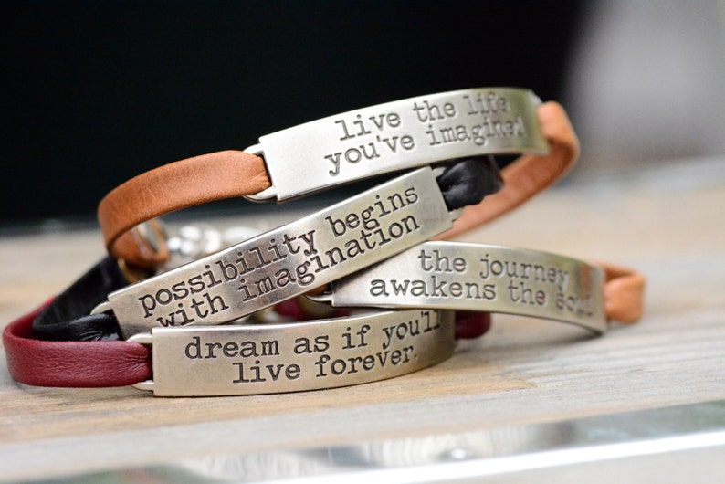 Inspirational Bracelet Leather Bracelet Inspirational image 0