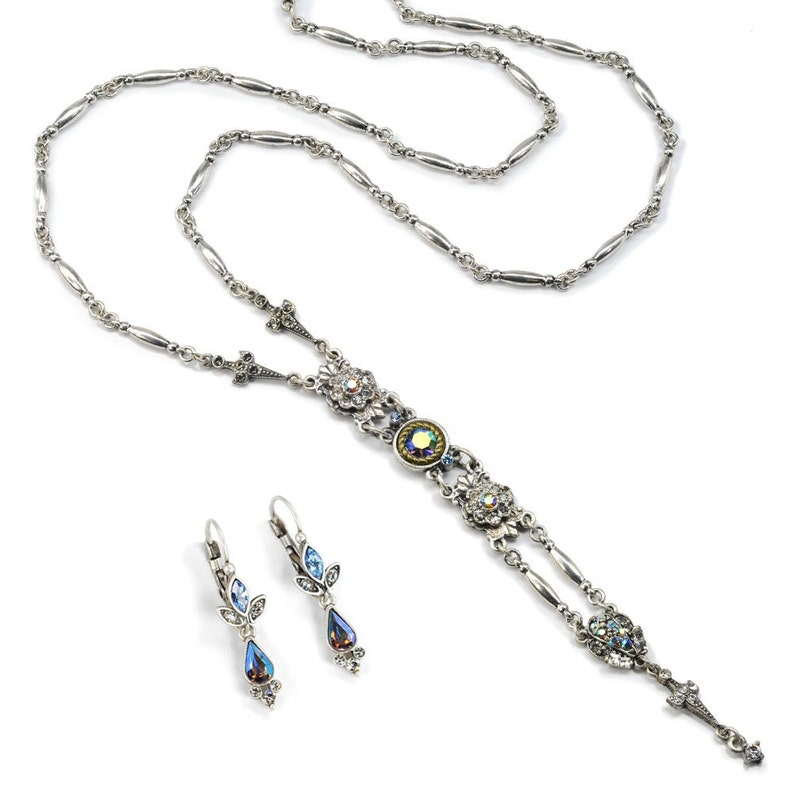 Silver Necklace SR/_N1445-E1320-SIL Silver Y Necklace Silver Jewelry Jewelry Set Necklace and Earrings Set Gift for Her Y Necklace