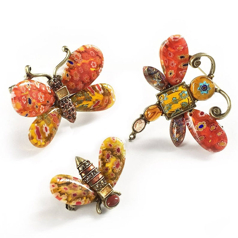 68003edcb476 Candy Glass Insect Pins Millefiori Glass Jewelry Murano