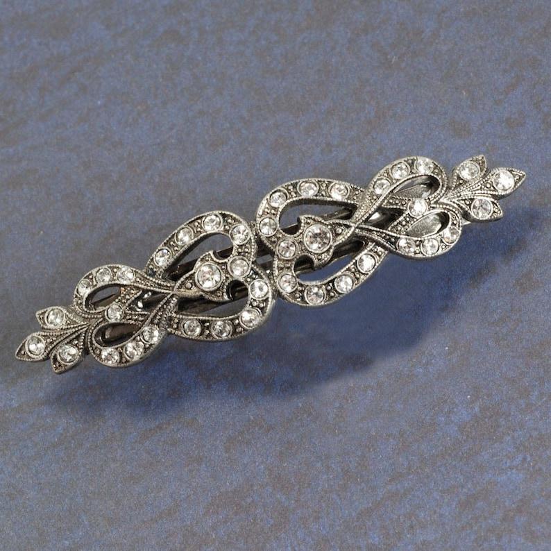 French Knot Barrette Wedding Barrette Hair Barrette Silver image 0