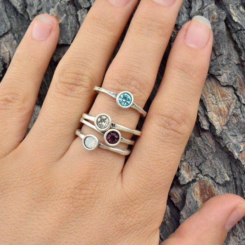 Birthstone Ring Delicate Ring Stackable Birthstone Ring image 0