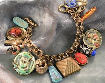 Egyptian Charm Bracelet, Egyptian Jewelry, Egyptian Costume, Ancient Egypt, King Tut, Historical Jewelry, Eye of Horus, Cleopatra BR305