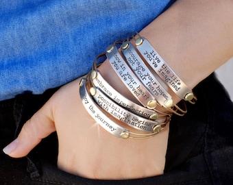 Inspirational Bracelet, Motivational Bracelet, Inspirational Jewelry, Quote Bracelet, Message Bracelet, Stamped Bracelet, Engraved Words